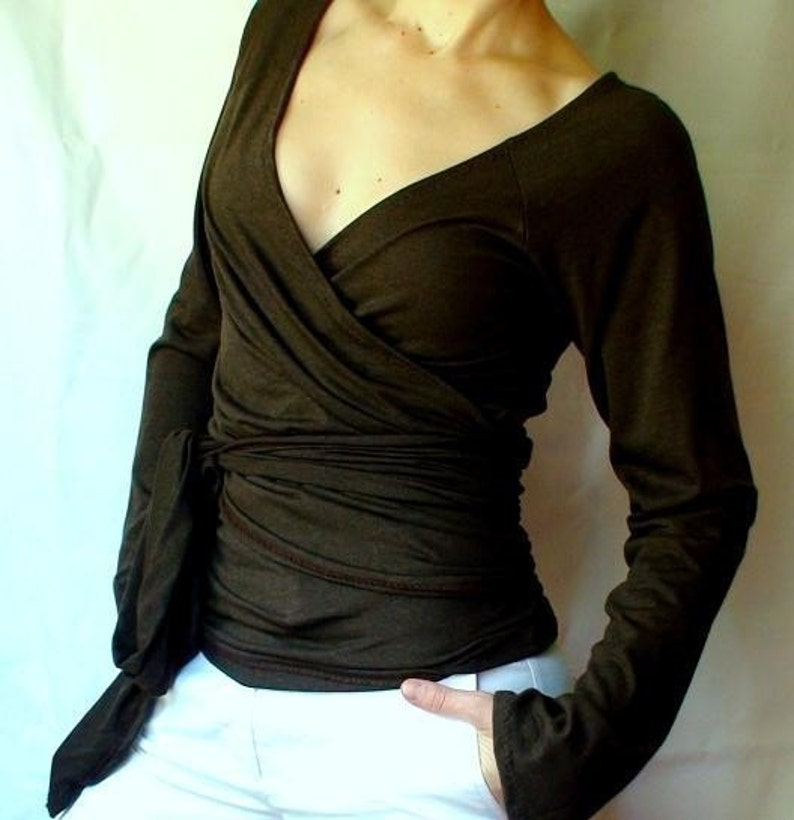 a1955a0ac womens wrap shirt long sleeve bamboo top made to order image ...