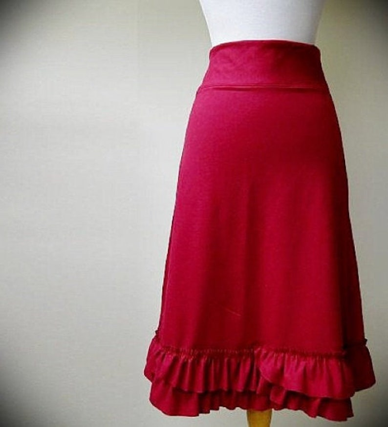 aline skirt with ruffles long skirt frilly skirt red skirt image 0