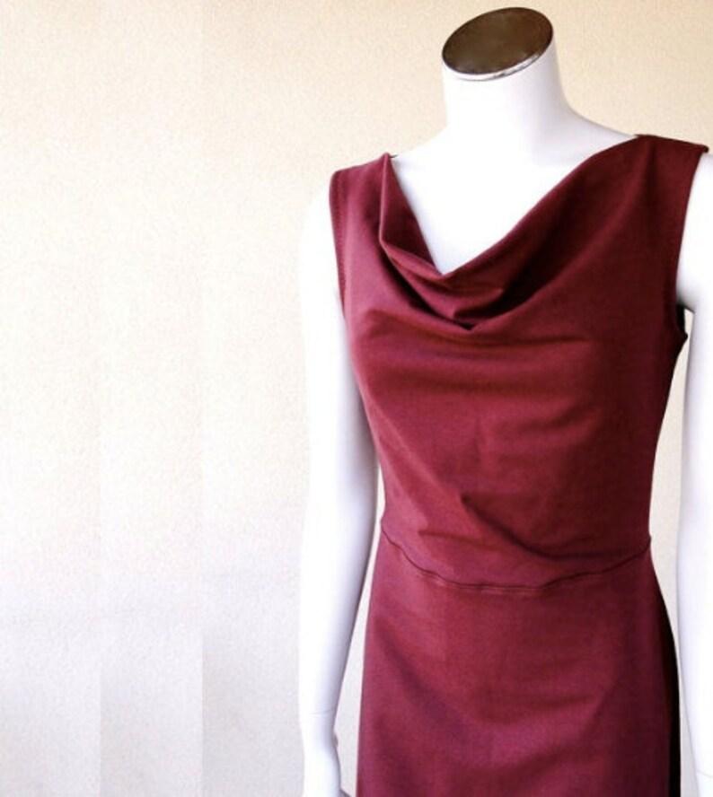 draping neckline dress long dress sleeveless dress wool image 0