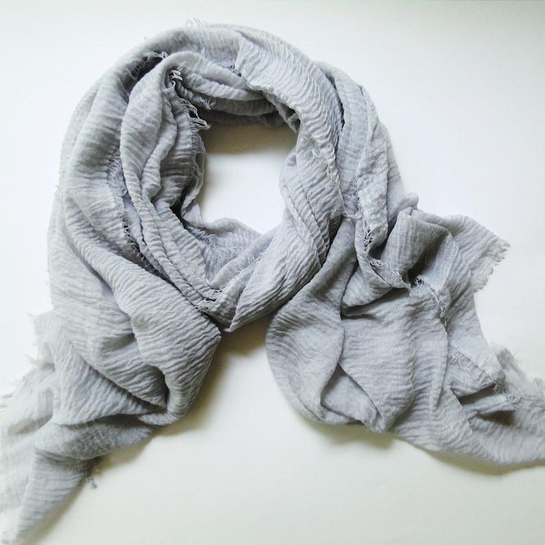 Cotton gauze wrap in Silver Grey cotton gauze scarf long image 0
