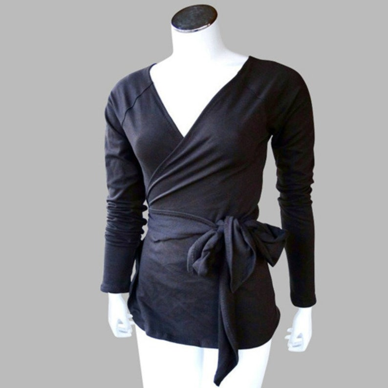 womens wrap shirt  bamboo organic knit or merino wool top  image 0