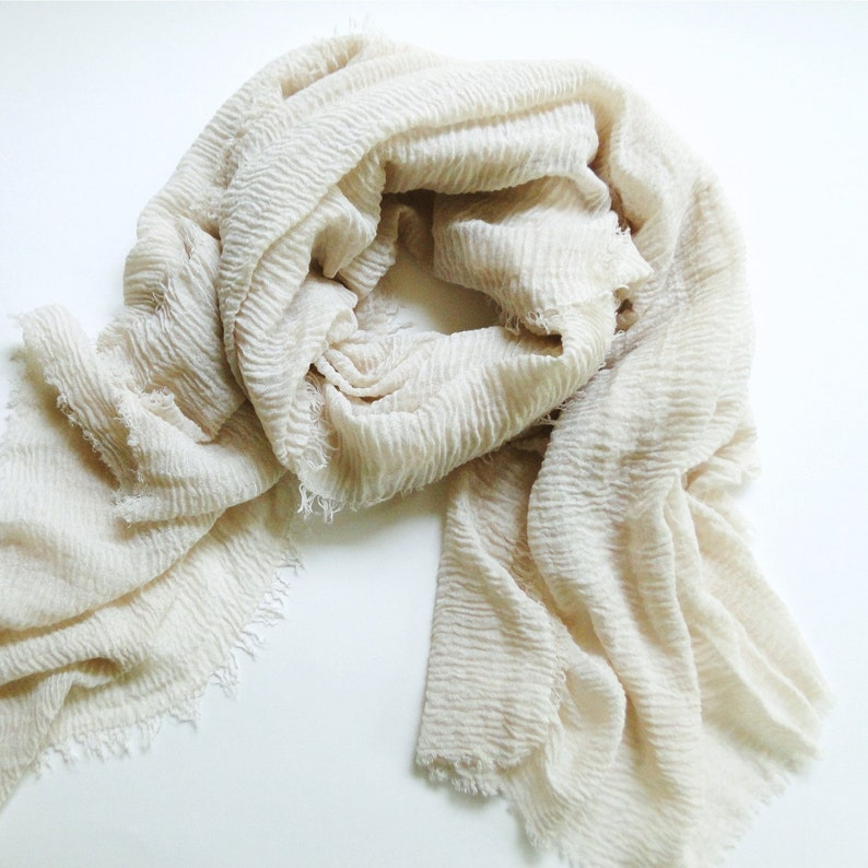 Summer cotton scarf in soft Cream beige cotton gauze scarf image 0