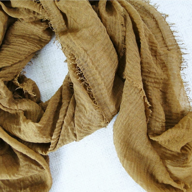 Mustard camel gauze scarf in soft cotton / modal blend cloth image 0