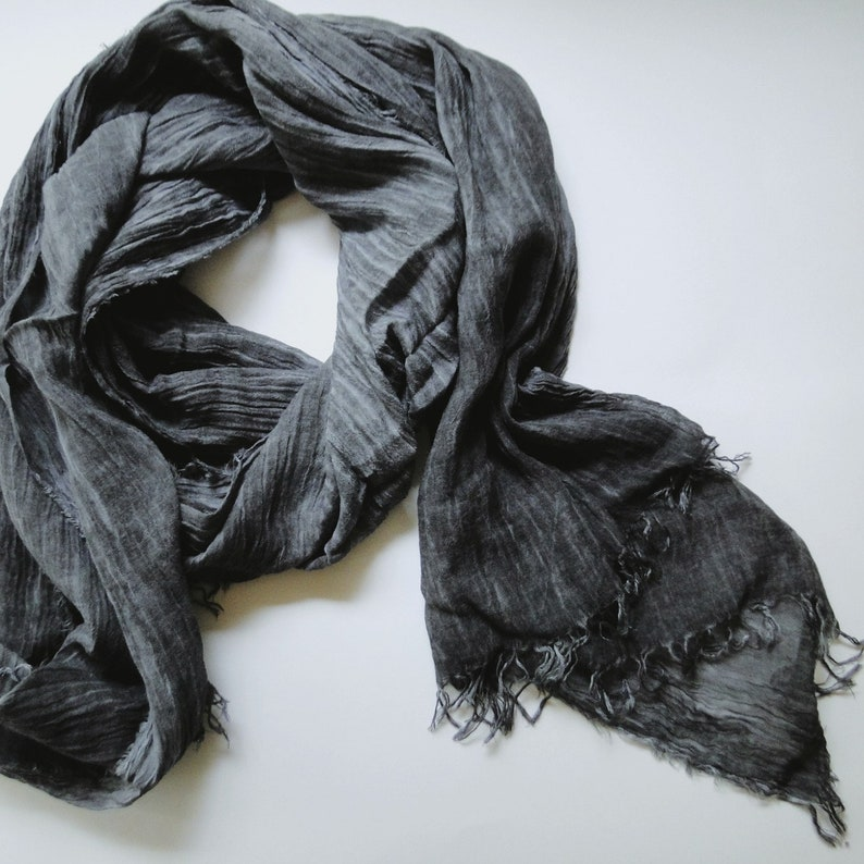 Long linen scarf in charcoal grey linen shawl boho scarf image 0