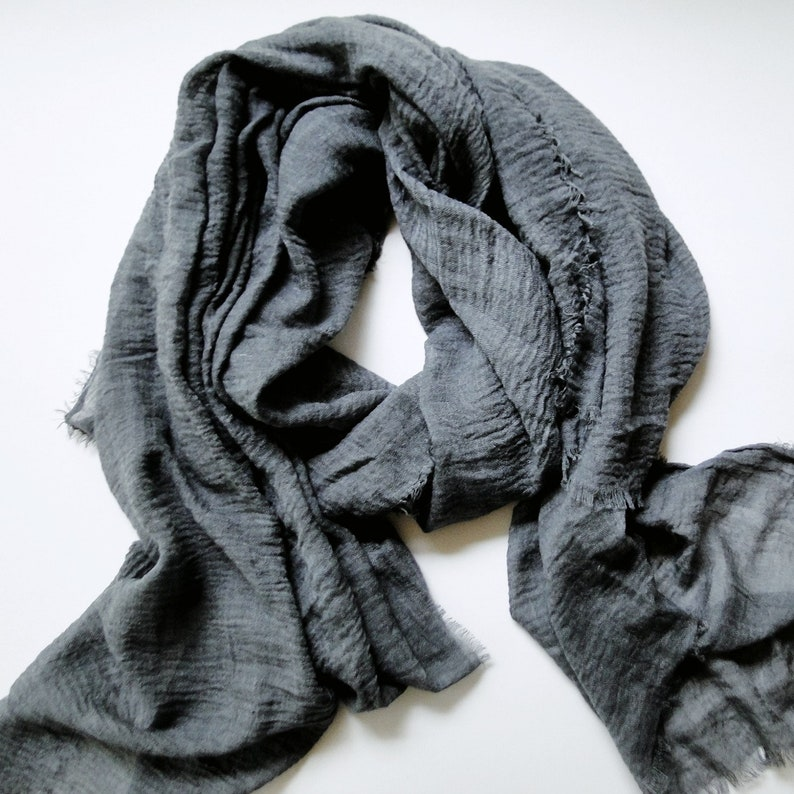 Summer cotton scarf in Charcoal cotton gauze scarf long image 0