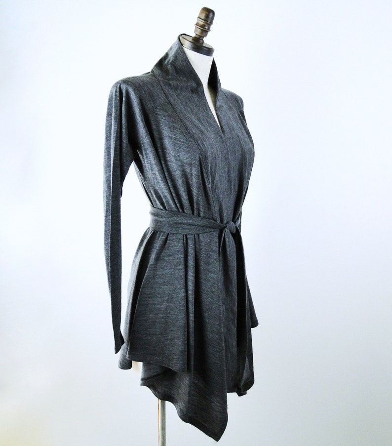 Long cardigan wrap top with shawl neckline wool or organic image 0