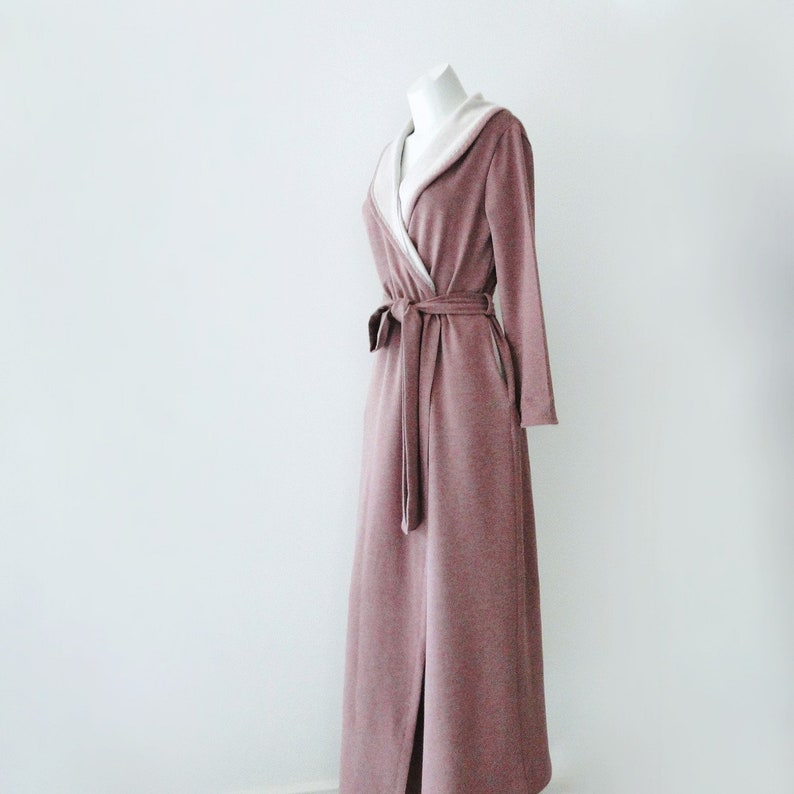 Womens long robe organic cotton bamboo fleece robe extra image 0