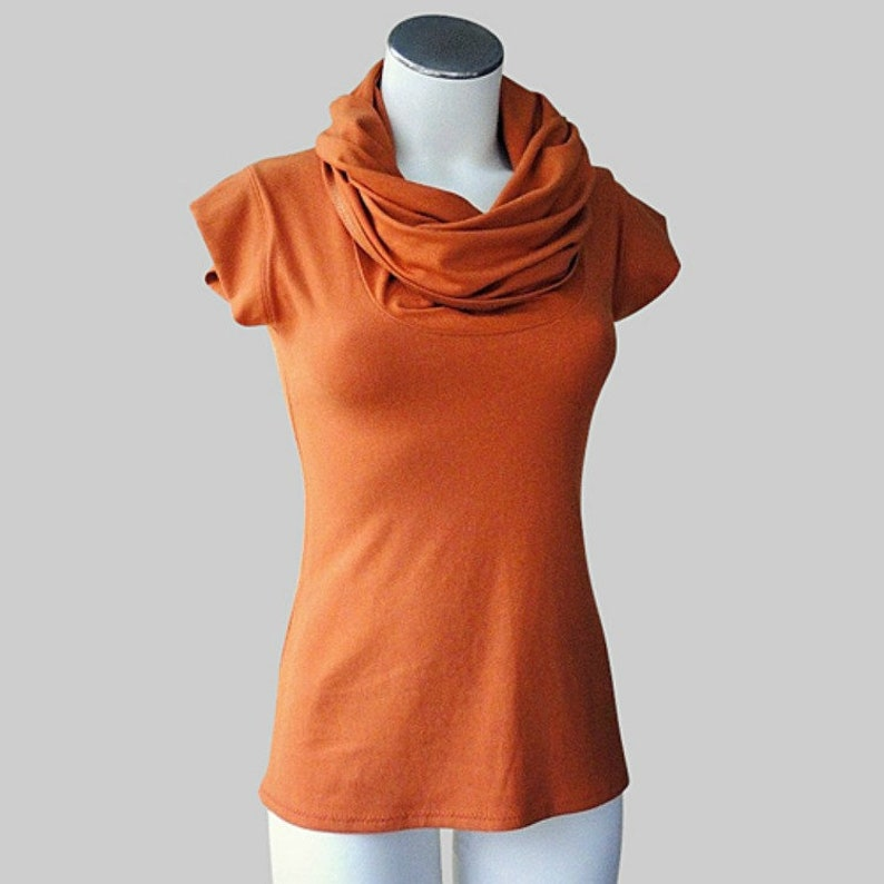 womens bamboo top with cap sleeves and cowl neckline  made to image 0