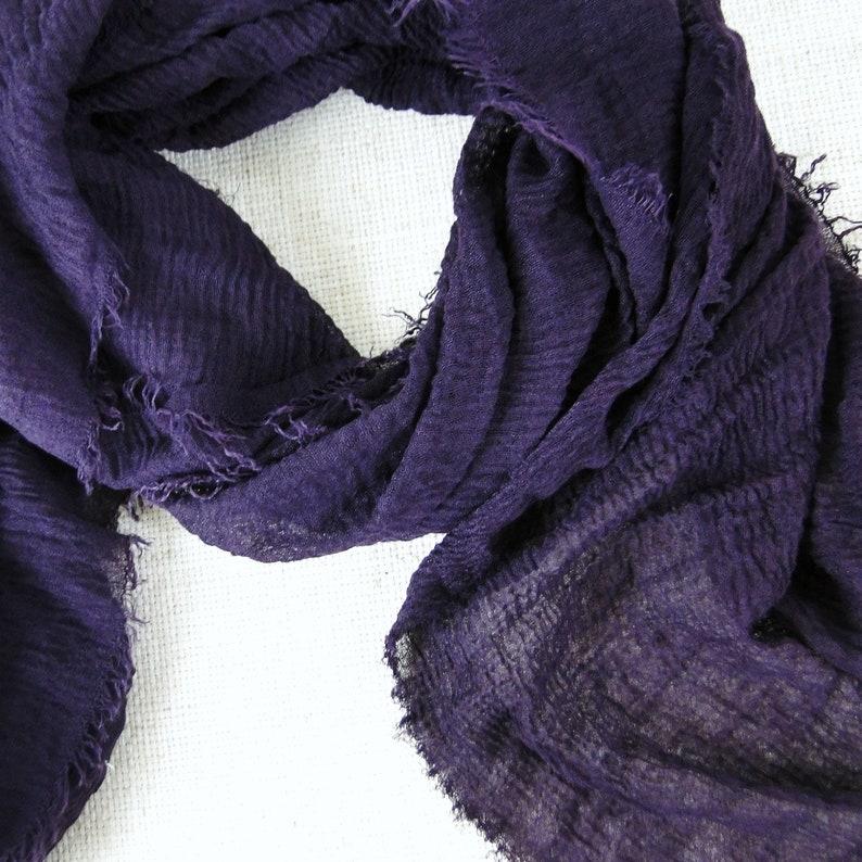 Purple gauze scarf in soft cotton / modal blend cloth cotton image 0