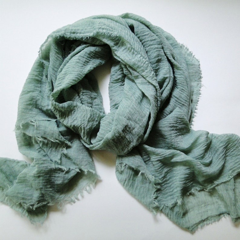 Large summer scarf in Sage green cotton gauze scarf long image 0