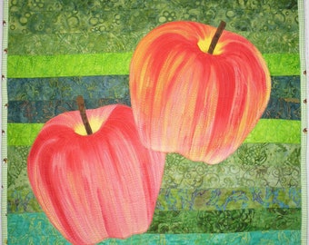 A is for Apple wall hanging / art quilt