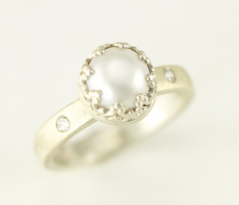 Sterling Pearl Engagement Ring  Diamond Accent Pearl Ring  image 0