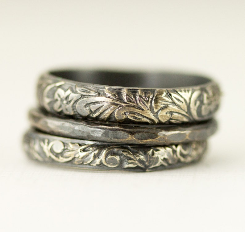 Sterling Silver Ring Set  Set of 3 Stackable Silver Pattern image 0