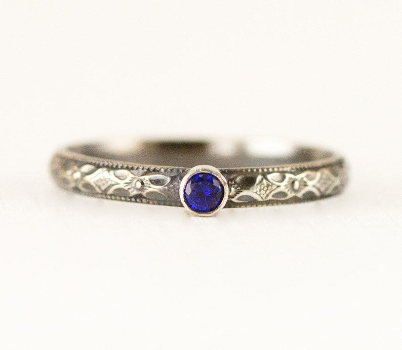 Mini Sapphire Stack Ring  3mm Sterling Birthstone Ring  image 0