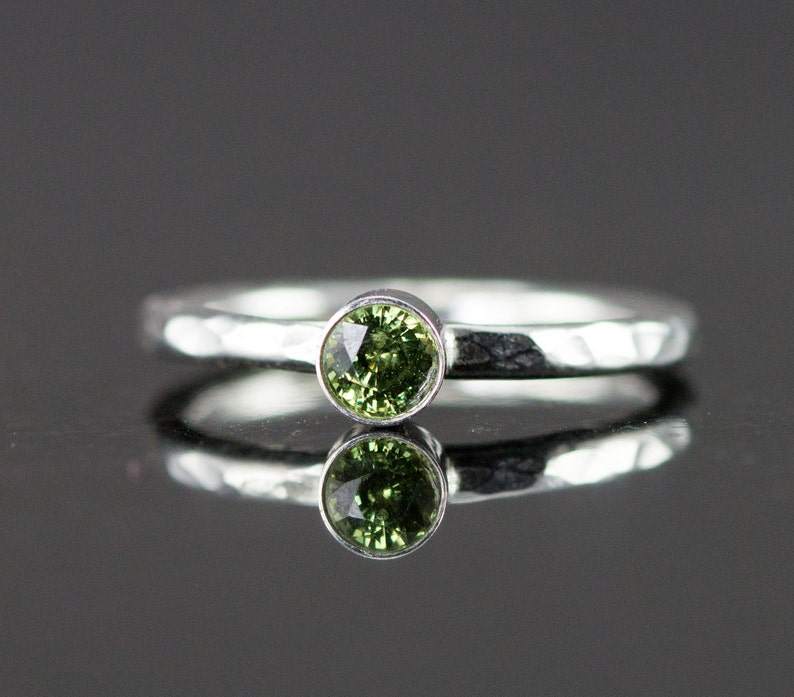 Demantoid Garnet Sterling Ring  Sage Green Garnet Gemstone image 0