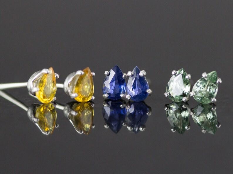 Sapphire Studs  Sterling Pear Cut Sapphire Earrings Blue image 0