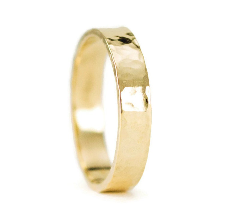 Hammered Gold Wedding Ring 14k or 18k Yellow Gold Wedding image 0