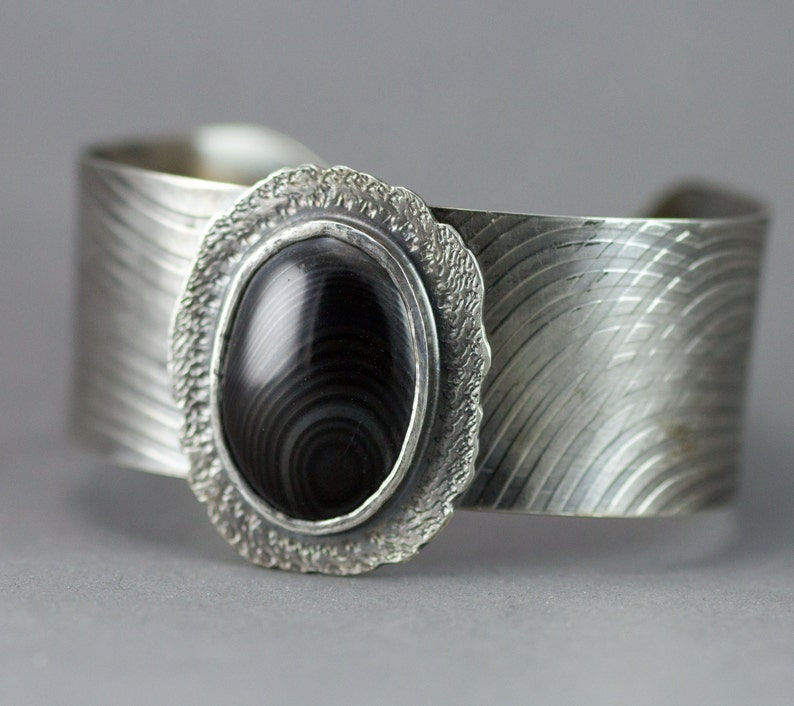 Sterling Cuff Bracelet  Psilomelane Sterling Cuff  Black and image 0