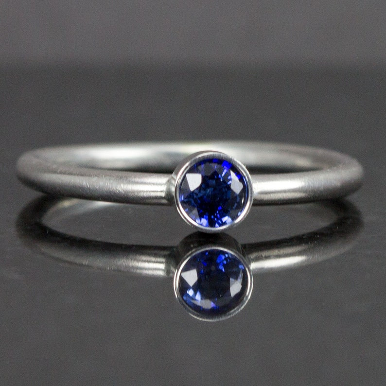 Blue Sapphire Stack Ring  Engagement Ring  Genuine Sapphire image 0
