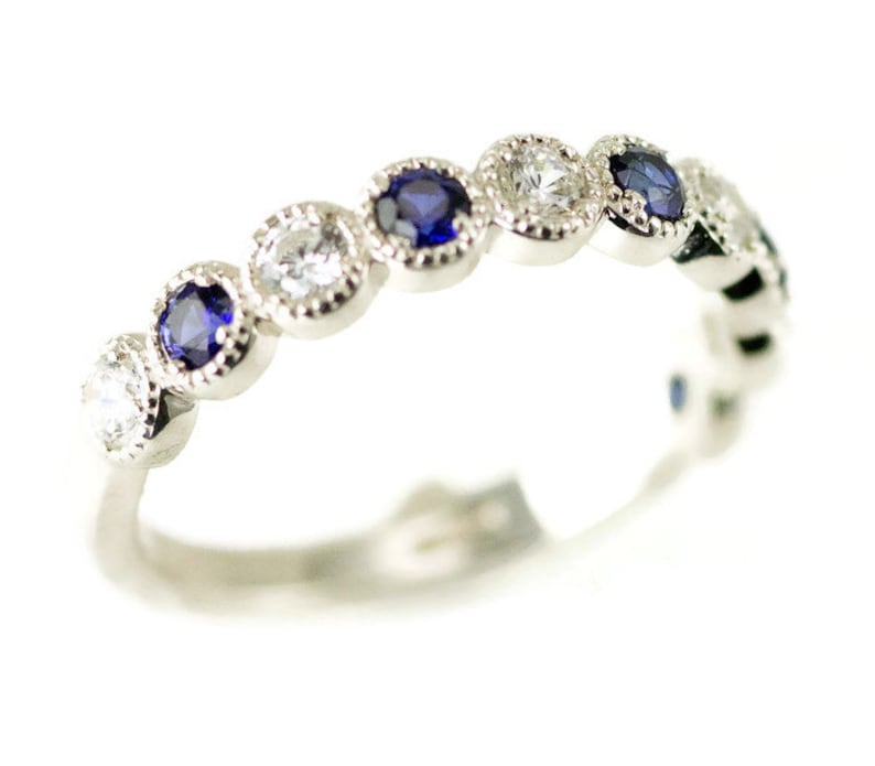 Sterling Gemstone Stack Ring  Anniversary Band   Sapphire image 0