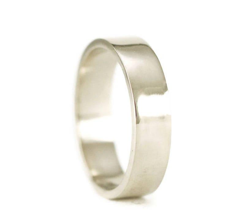 Men's 14k Palladium White Gold Wedding Ring  5 x 1.25mm image 0