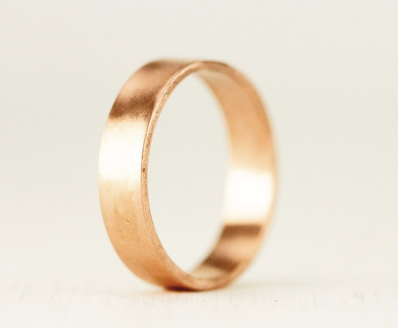 14k Gold Men's Wide Wedding Ring  5 x 1mm Flat Band  image 0
