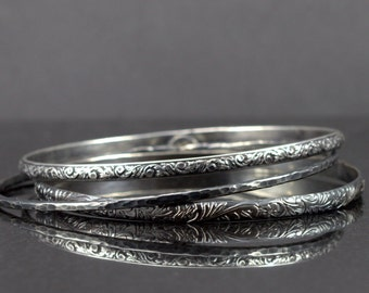 Sterling Bangle Trio - Set of 3 Sterling Stacking Bangles