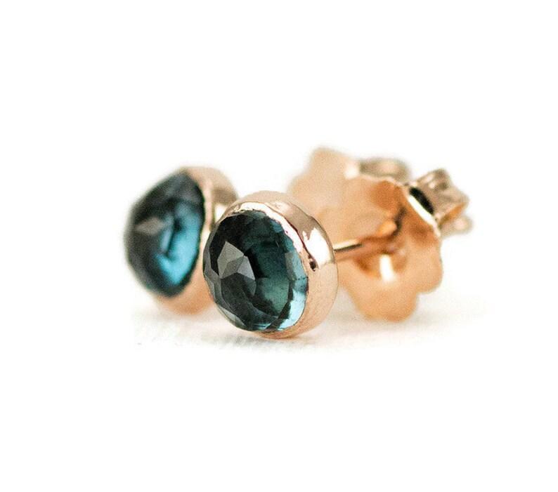 London Blue Topaz Studs  14k Rose Gold Post Earrings  6mm London Blue Topaz