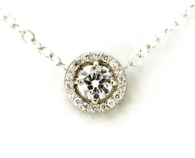 White Gold Moissanite and Diamond Halo Necklace  14k Gold image 0