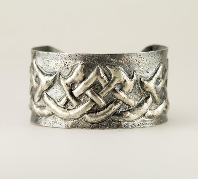 Celtic Knot Sterling Cuff  Gaelic Tribal Pattern Bracelet  image 0