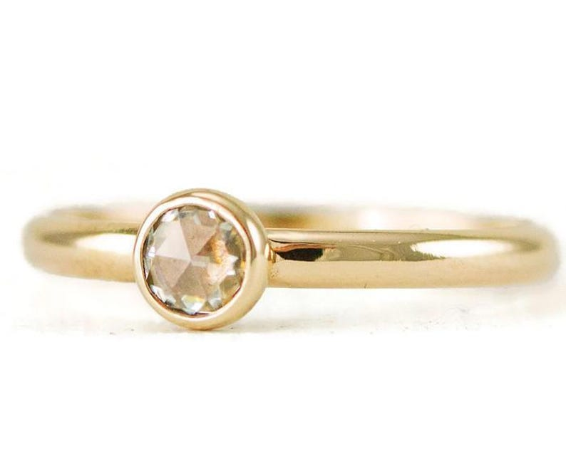 Rose Cut Moissanite Engagement Ring  Solid 14k Gold or Gold image 0