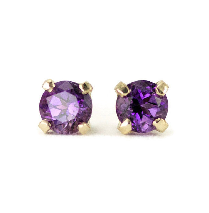 14k Gold Amethyst Studs  February Birthstone Post Earrings  image 0