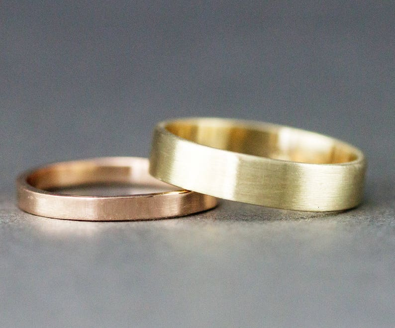 Gold Wedding Ring Set  14k Flat Wedding Bands  5mm and 2mm  image 0