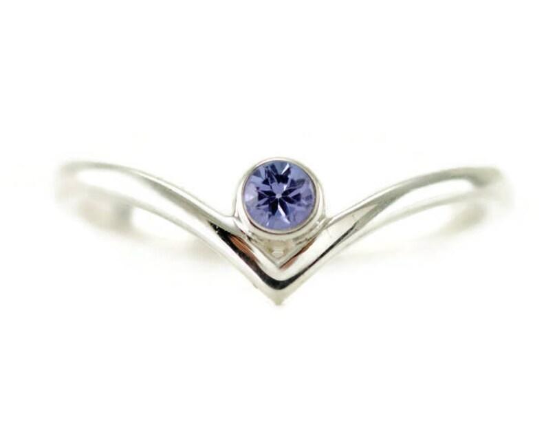 Tanzanite Chevron Sterling Ring  Bezel Set V Birthstone Rings Tanzanite