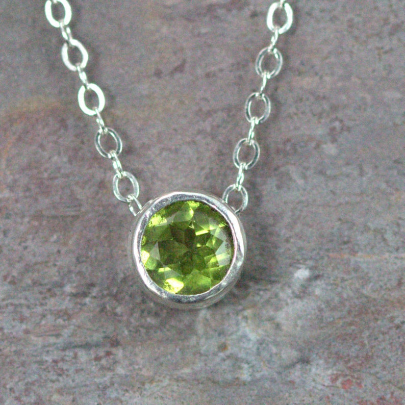Peridot Sterling Necklace  Floating Charm Pendant  Solitaire Peridot - Aug
