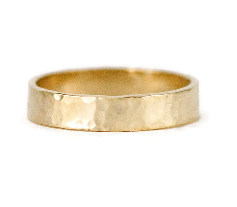 14k Hammred Gold Wedding Ring  Choose Your Width from 2mm to image 0
