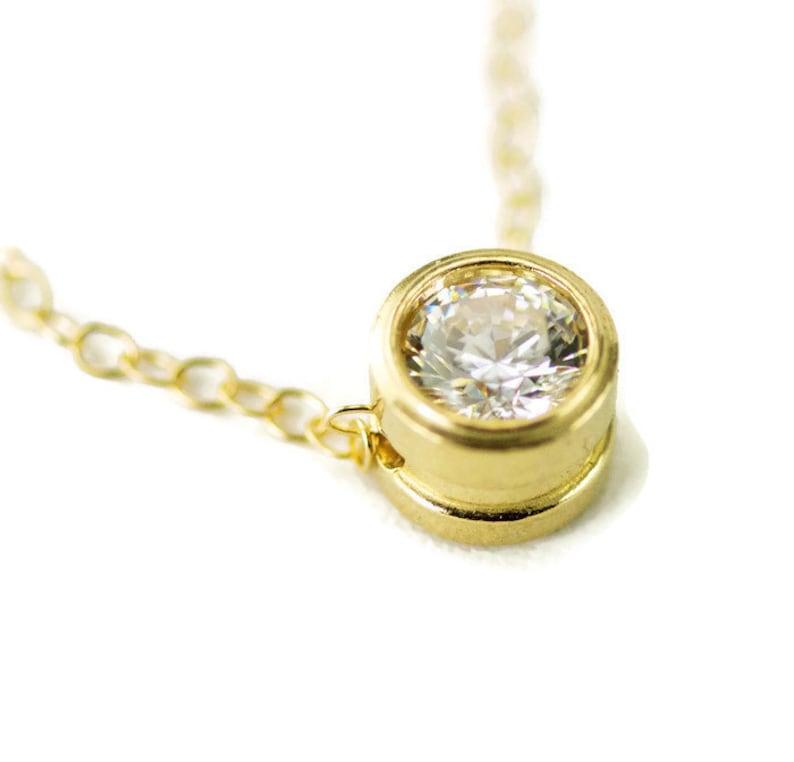 Moissanite Gold Necklace   14k Floating Slide Pendant  Bezel Moissanite