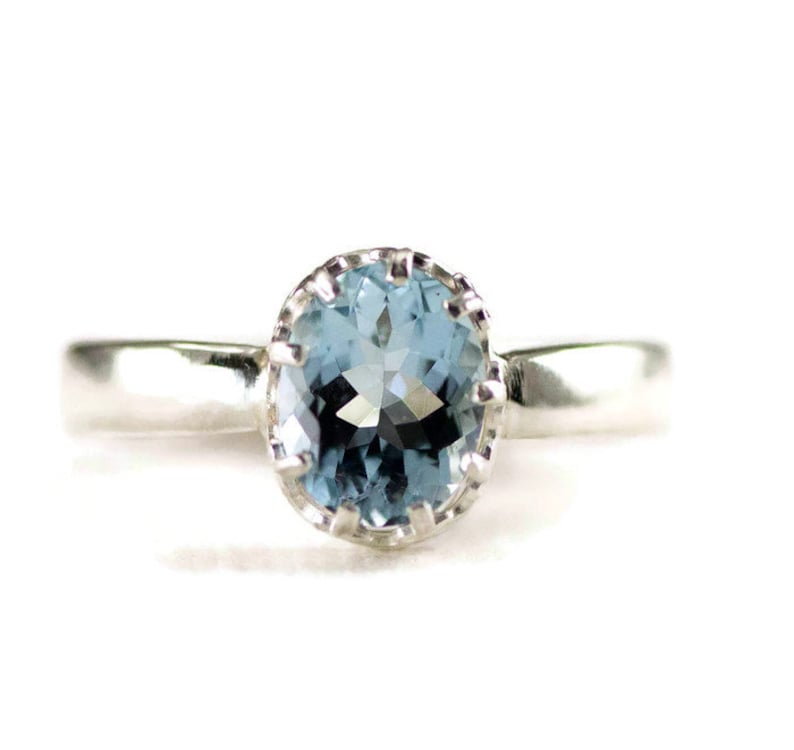 Aquamarine Ring  March Birthstone Sterling Ring  7x9mm Oval image 0