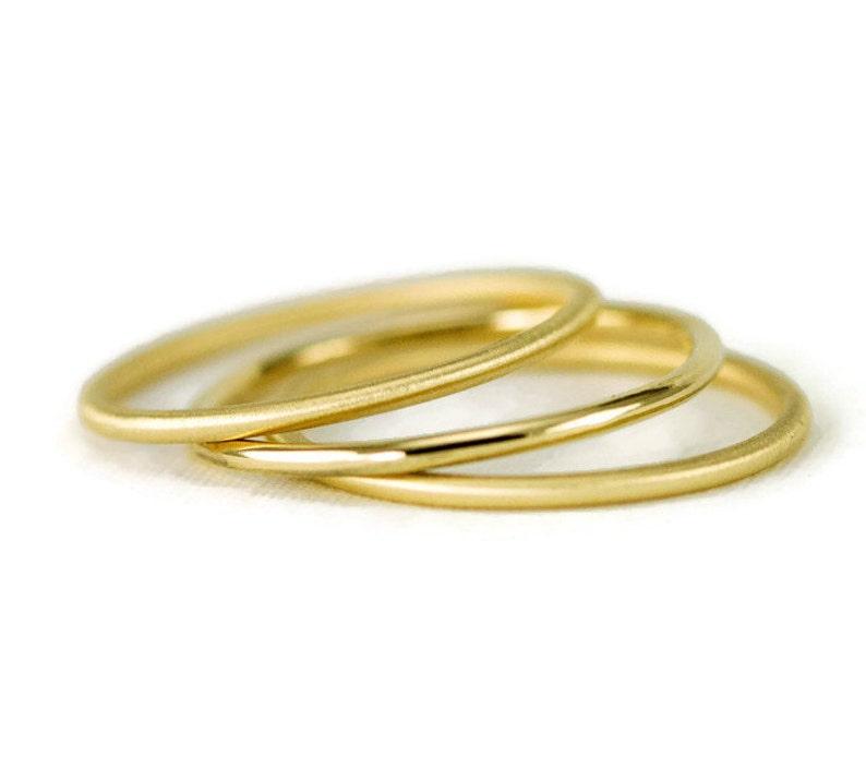 18k or 22k Gold Stack Ring  Slender 1.3mm Hammered Gold Band image 0