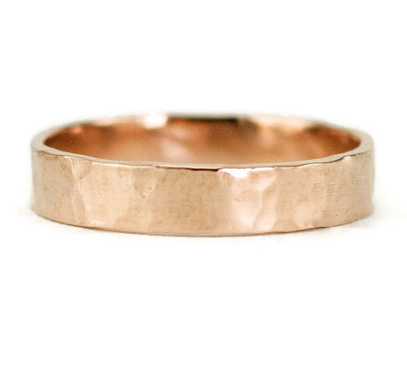 14k Rose Gold Wedding Ring  4 x 1.25mm Flat Unisex Wedding image 0