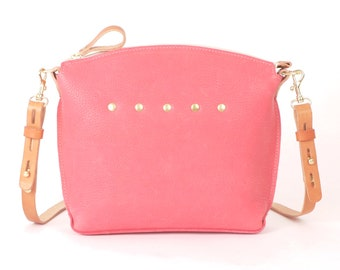 "PINK Leather Cross Body Bag - ""LEXINGTON"" Cross Body Handbag"