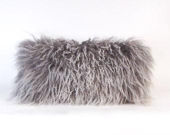 Gray Mongolian Fur Pillow ~ BEST SELLER!
