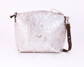 Metallic Silver Handbag - Silver Metallic Brazilian Cowhide Crossbody - Metallic Leather Purse