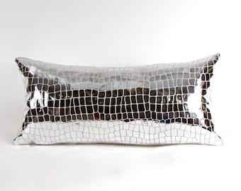Silver Leather Lumbar Pillow ~ BEST SELLER!
