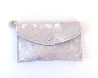 Metallic Silver Leather Wallet - Metallic Silver Hair on Hide Wallet - Acid Washed Leather Wallet