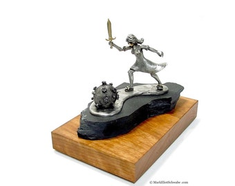 COVID Slayer sculpture; unique sculpting by master metalsmith Mark Eliot Schwabe, imagine the END of COVID 19