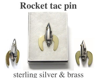 Rocket Ship classic retro Sci Fi design with Steampunk detailing Sterling Silver and Brass tac pin