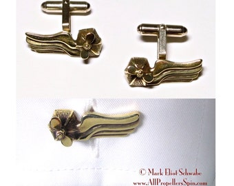 Wings & Propeller Interactive SteamPunk cuff links - Airship style - propeller spins!