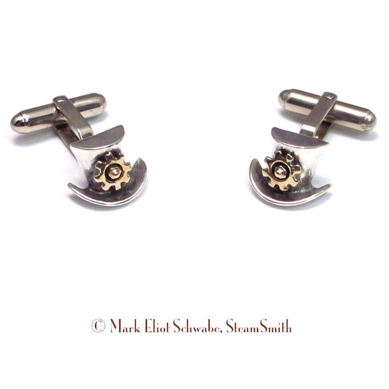 SteamPunk cuff links  Top Hats & Gears  Sterling Silver Top image 0