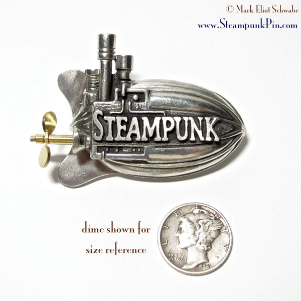 Steampunk pin the word Steampunk front & center  image 3